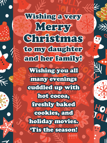 Holly Jolly- Merry Christmas Wishes Card for Daughter and Her Family