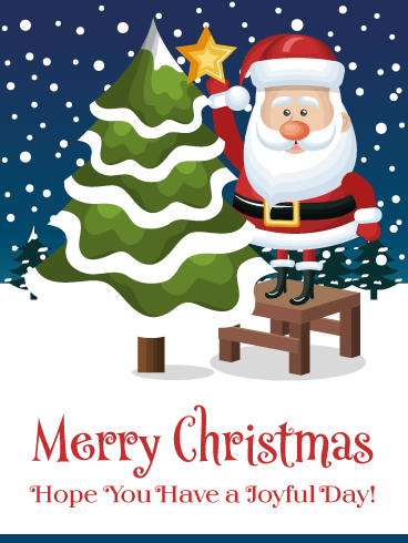 Joyful Santa - Merry Christmas Card for Everyone