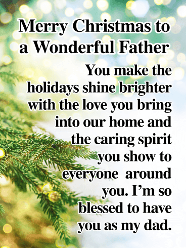 You are a Wonderful Father! - Merry Christmas Card for Father