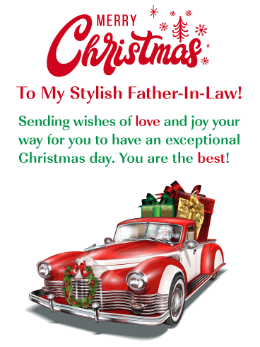 Stylish Holiday Car - Merry Christmas Card for Father-in-Law