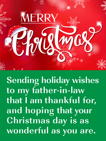 Thankful for You - Merry Christmas Card for Father-in-Law