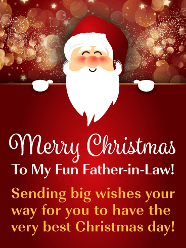 Cute Santa - Merry Christmas Card for Father-in-Law