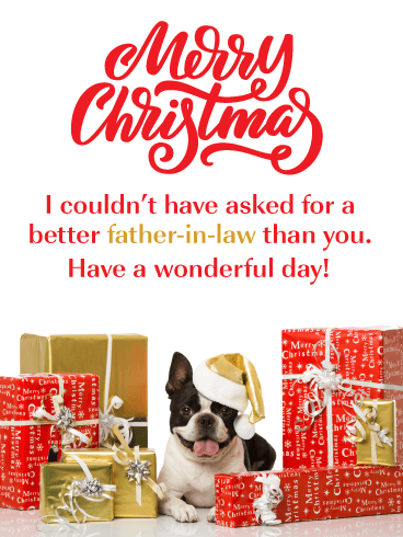 Puppy & Presents - Merry Christmas Card for Father-in-Law