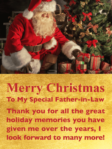Great Holiday Memories - Merry Christmas Card for Father-in-Law
