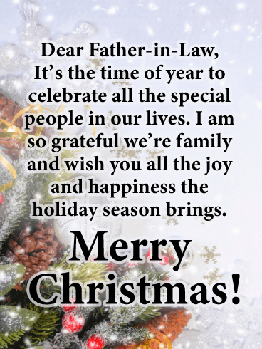 So Grateful to Have You! - Merry Christmas Card for Father-in-Law