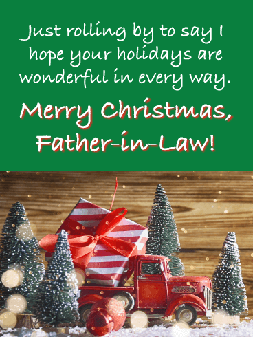 Loved and Remembered - Merry Christmas Card for Father-in-Law