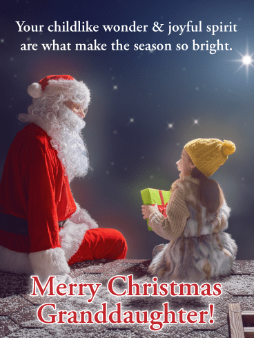 Santa Claus's Visit - Merry Christmas Card for Granddaughter
