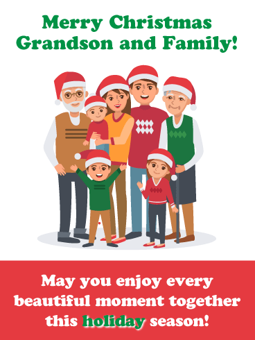 Together for the Holidays - Merry Christmas Card for Grandson and Family