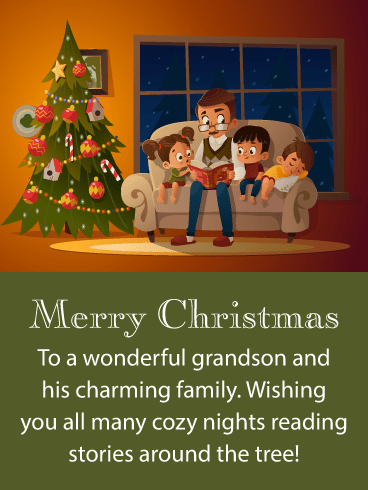 Stories Around the Tree - Merry Christmas Card for Grandson and Family
