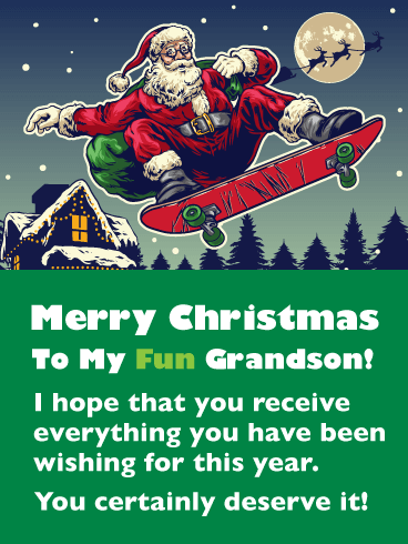 Skateboarding Santa -  Merry Christmas Card for Grandson