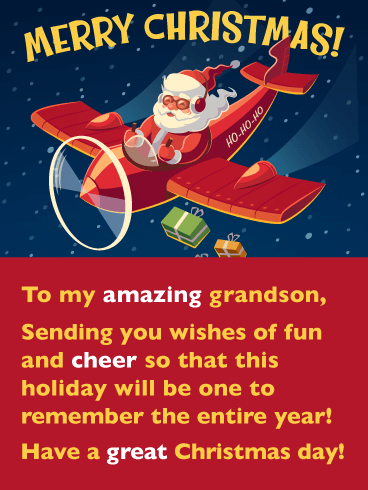 Retro Santa -  Merry Christmas Card for Grandson