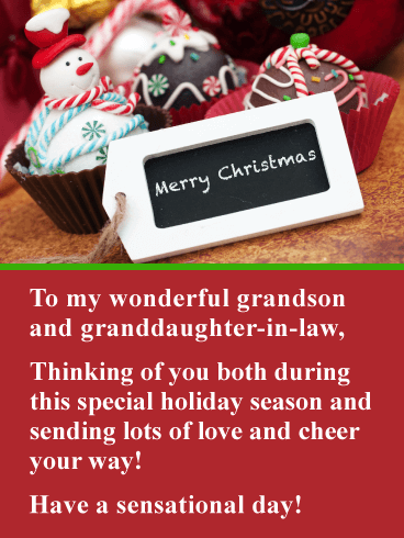 Fantastic Holiday Treats - Merry Christmas Card for Grandson & Granddaughter-in-Law