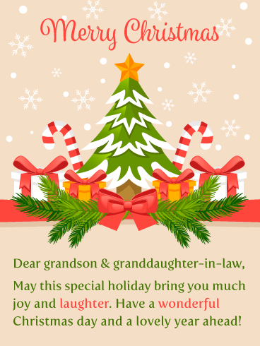 A Wonderful Day! Merry Christmas Card for Grandson & Granddaughter-in-law
