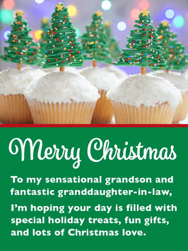 Festive Cupcakes - Merry Christmas Card for Grandson & Granddaughter-in-Law