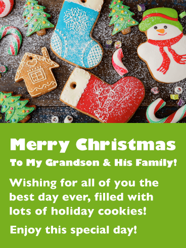 Holiday Cookies - Merry Christmas Card for Grandson & His Family