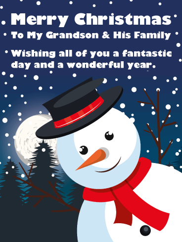 Festive Snowman - Merry Christmas Card for Grandson & His Family