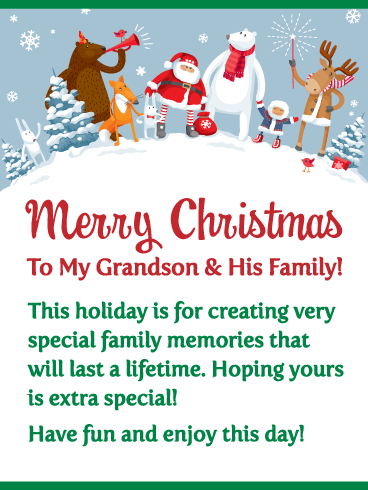 Special Memories - Merry Christmas Card for Grandson & His Family