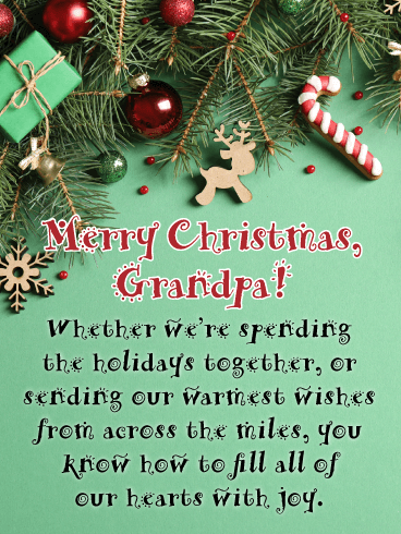 Our Warmest Wishes - Merry Christmas Card for Grandpa