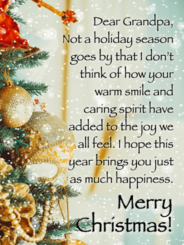 Wish You Happiness - Merry Christmas Card for Grandpa