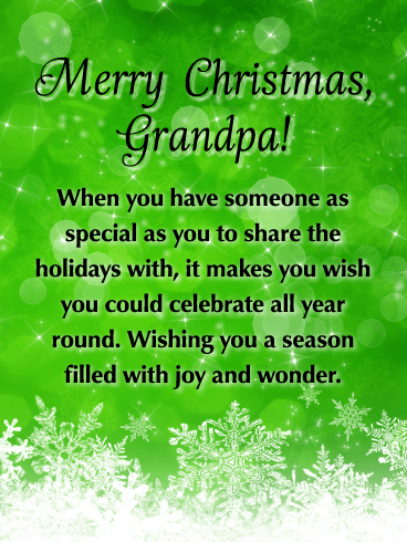 Here Come Joy and Wonder - Merry Christmas Card for Grandpa