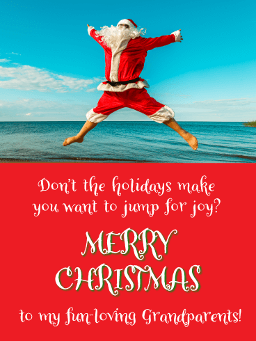 Santa Jumping for Joy - Merry Christmas Card for Grandparents