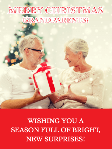Surprise Gifts - Merry Christmas Card for Grandparents