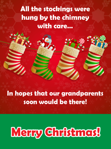 Stocking Stuffers - Merry Christmas Card for Grandparents