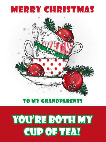 Cup of Tea - Merry Christmas Card for Grandparents