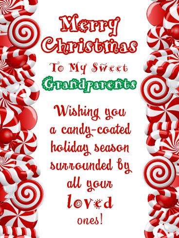 Candy Cane Wishes - Merry Christmas Card for Grandparents