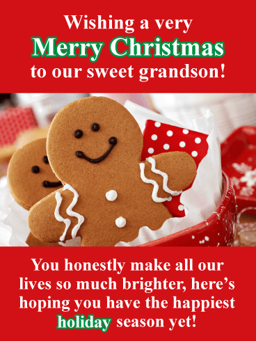 Gingerbread Grandson - Merry Christmas Wishes Card