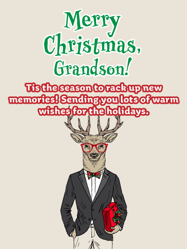 Reindeer Games - Funny Christmas Card for Grandson