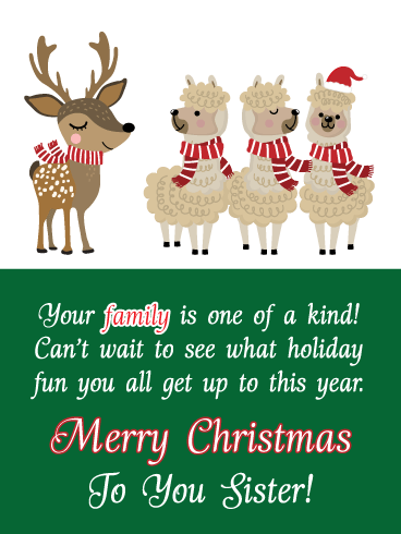 One of a Kind - Merry Christmas Card for Sister and Family