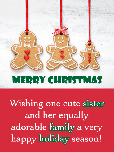 Gingerbread Cookies - Merry Christmas Card for Sister and Family