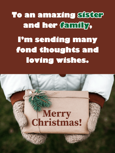 Woolen Mittens - Merry Christmas Card for Sister and Family