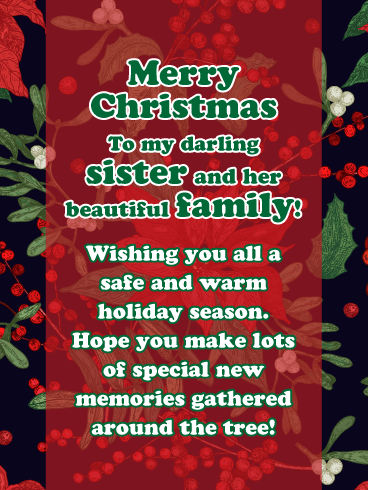 Boughs Of Holly Merry Christmas Card For Sister And Family