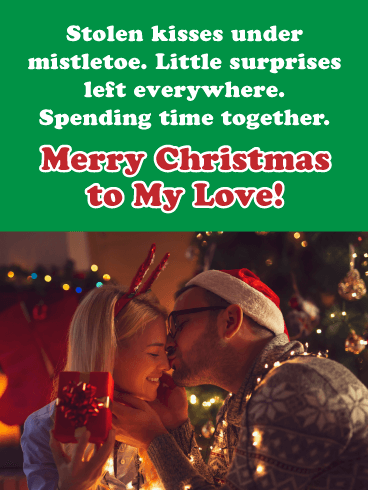Stolen Kisses - Merry Christmas Card for Lover