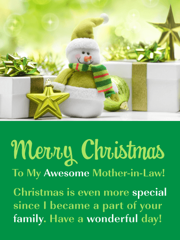 You're Awesome! - Merry Christmas Card for Mother-In-Law