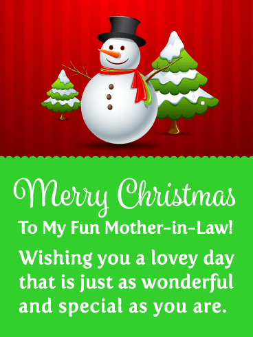 Adorable Snowman - Merry Christmas Card for Mother-in-Law