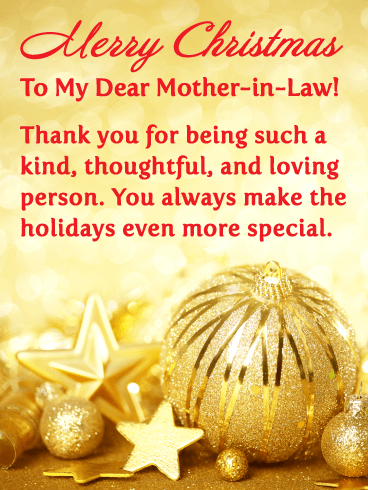 Golden Ornaments - Merry Christmas Card for Mother-in-Law