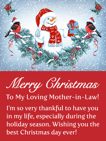 Thankful for You - Merry Christmas Card for Mother-in-Law