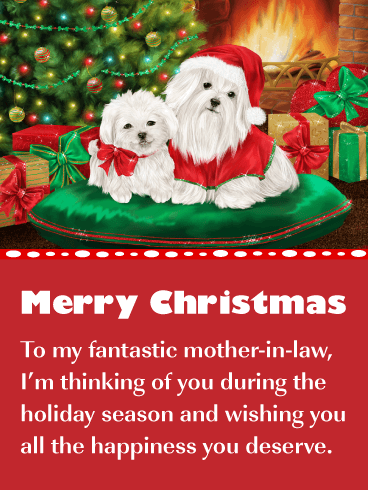 Precious Puppies - Merry Christmas Card for Mother-in-Law