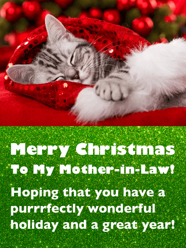 Sweet Kitten - Merry Christmas Card for Mother-in-Law