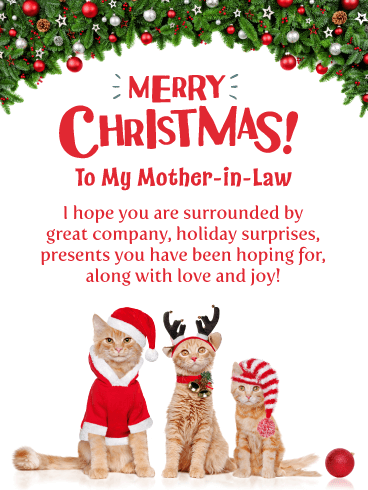 Festive Kitties - Merry Christmas Card for Mother-in-Law