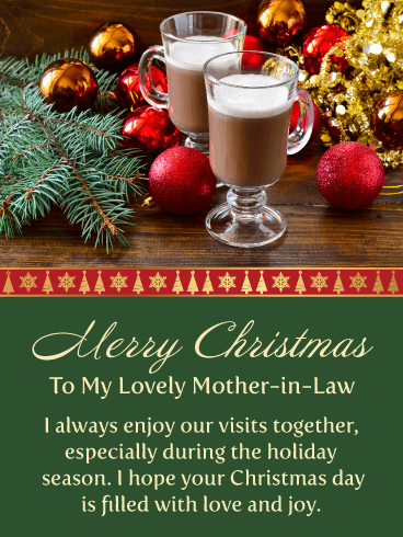 Special Holiday Drinks - Merry Christmas Card for Mother-in-Law