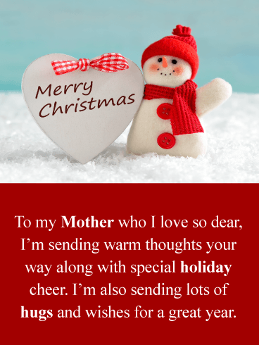 Adorable Snowman – Merry Christmas Card for Mother