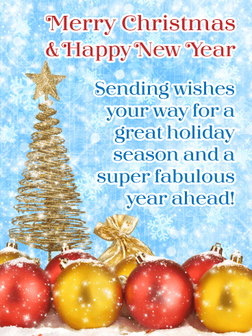 Sensational Holiday Decoration - Merry Christmas and Happy New Year Card
