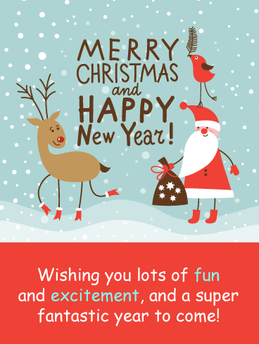 A Christmas Present from Santa & Reindeer – Merry Christmas and Happy New Year Card