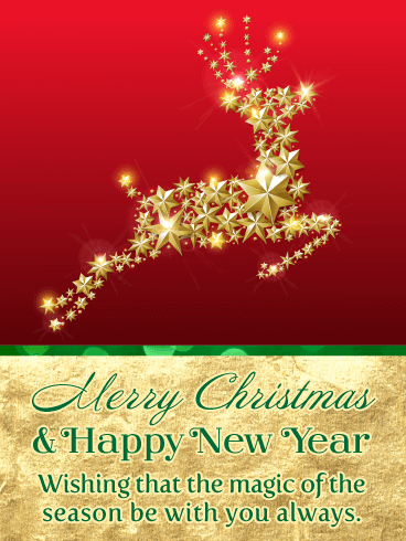 Golden Christmas Reindeer - Merry Christmas and Happy New Year Card