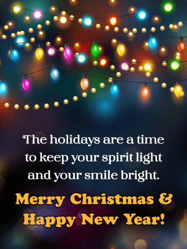 Color Changing Christmas Lights - Merry Christmas and Happy New Year Card