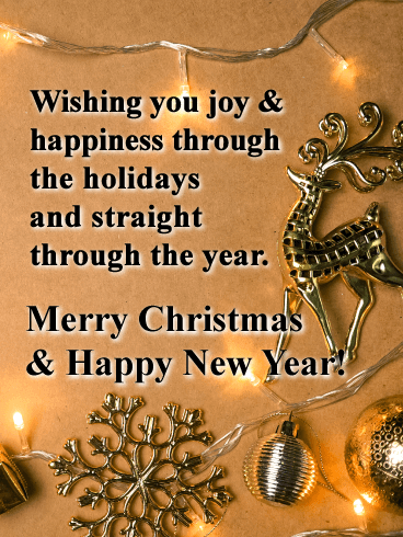 Gold Christmas Lights with Reindeer - Merry Christmas and Happy New Year Card